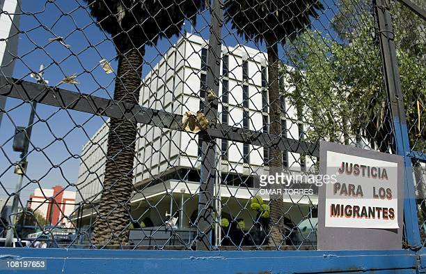 View of the US embassy where activists protest against US migration policy in Mexico City on January 20 during a demonstration in the second...