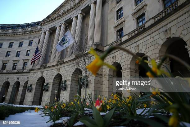 View of the U.S. Environmental Protection Agency headquarters on March 16, 2017 in Washington, DC. U.S. President Donald Trump's proposed budget for...