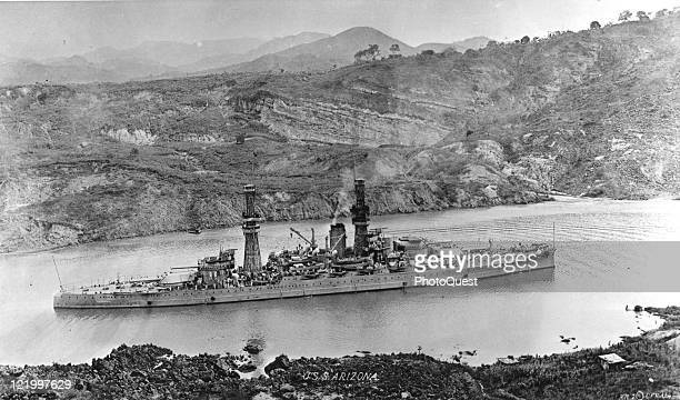 View of the US Navy ship USS Arizona in one of the locks of the Panama Canal early twentieth century
