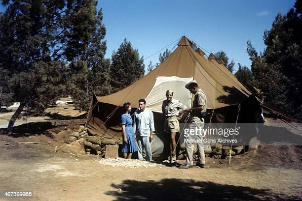 A view of the US soldiers next to a tent at the US Air Force Base in Benghazi Libya