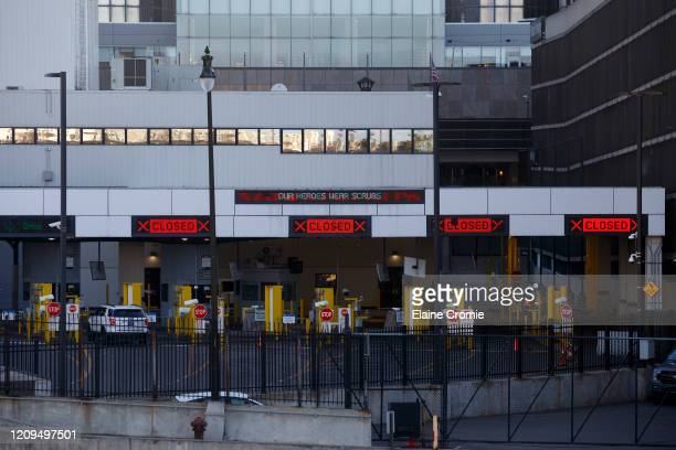View of the U.S.-Canada border crossing on April 8, 2020 from Detroit, Michigan. In an effort to slow the spread of the coronavirus , Detroit...