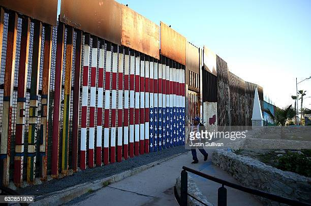 A view of the USMexican border fence at Playas de Tijuana on January 27 2017 in Tijuana Mexico US President Donald Trump announced a proposal to...