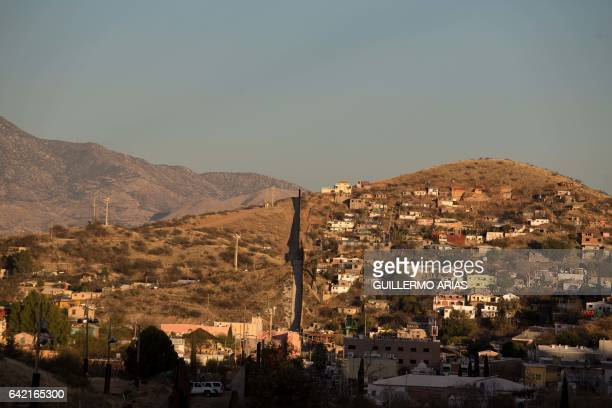 A view of the US/Mexico border line in Nogales on Feb 16 northwestern Mexico ***Attention Editors this image is part of an ongoing AFP photo project...