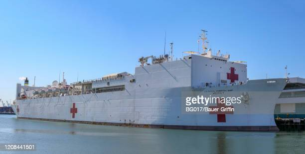 A view of the USNS Mercy Hospital Ship at the Port of Los Angeles as it arrives to assist with a growing number of COVID19 patients on March 27 2020...