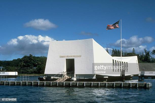 A view of the USS Arizona Memorial which spans the sunken hull of the battleship Arizona