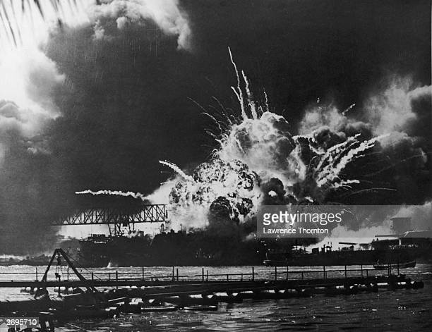 A view of the USS Shaw exploding at the US Naval Base Pearl Harbor Hawaii after the Japanese bombing