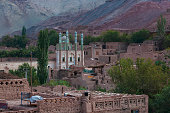 view uyghur village tuyog with mosque