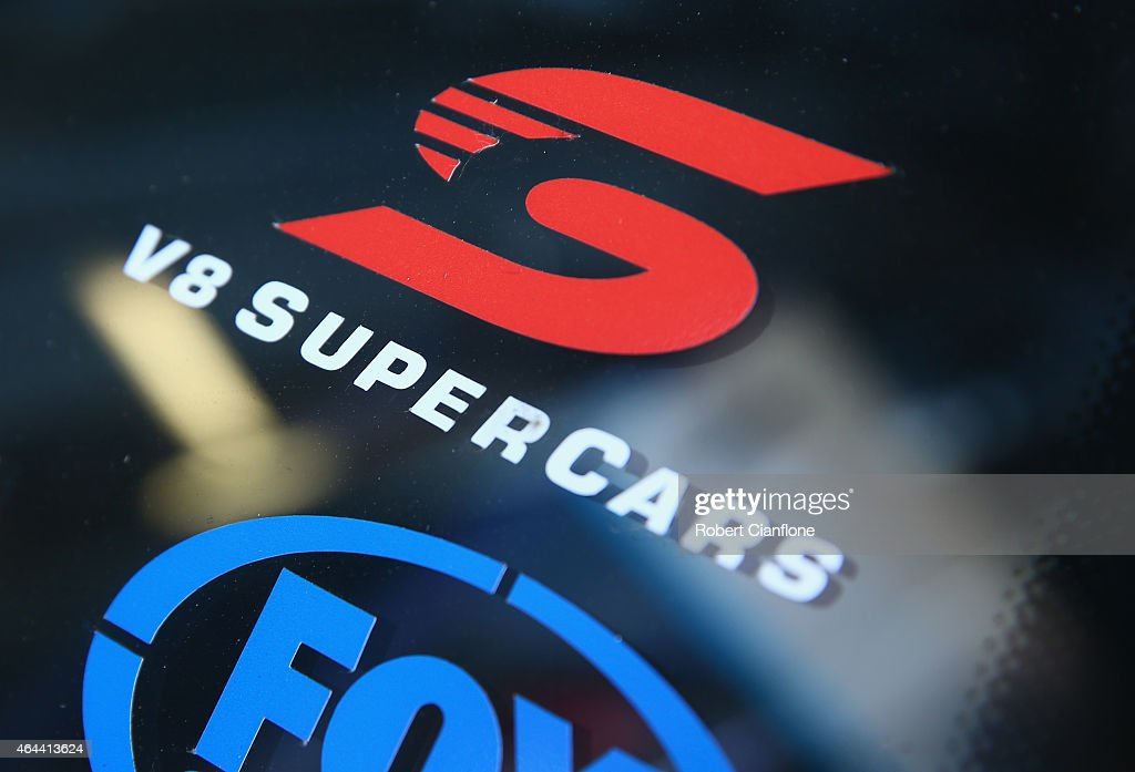 A view of the V8 Supercars logo ahead of the V8 Supercars Clipsal 500 at Adelaide Street Circuit on February 26, 2015 in Adelaide, Australia.