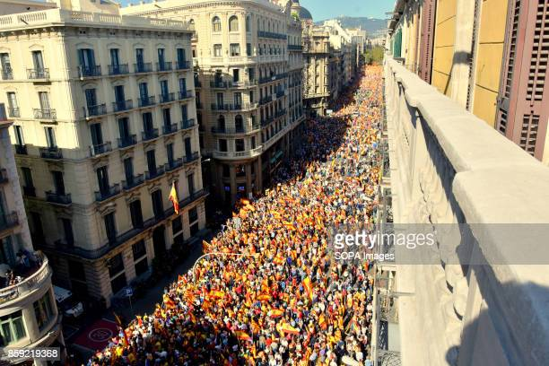 View of the Vía Laietana street full of protesters during the demonstration Thousands of people protested on Sunday in Barcelona against the...