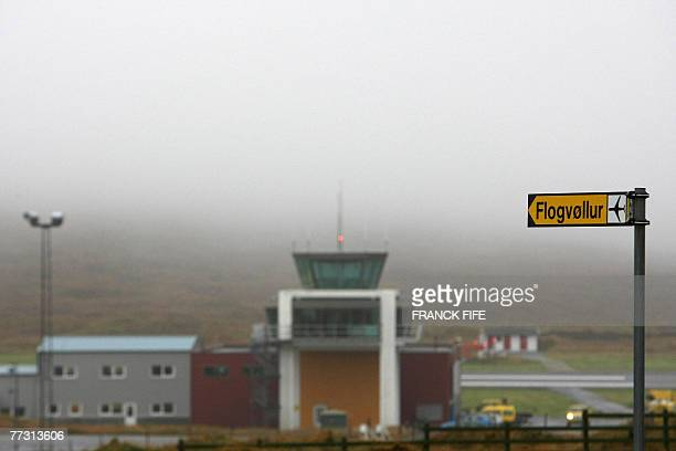 View of the Vaga airport in the Faroe Islands, 13 October 2007 where the French team should have landed yesterday. The plane was delayed due to heavy...