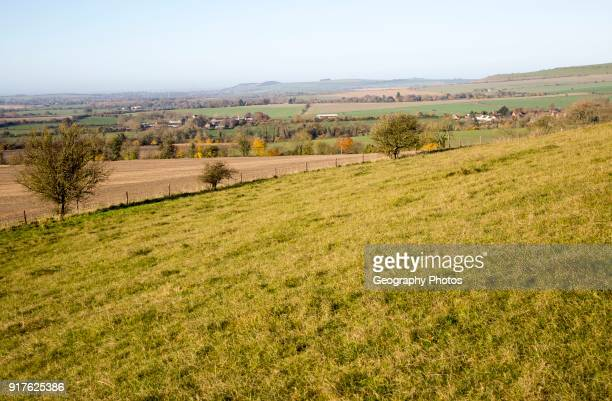 View of the Vale of Pewsey looking west from Woodborough Hill Wilcot Wiltshire England UK