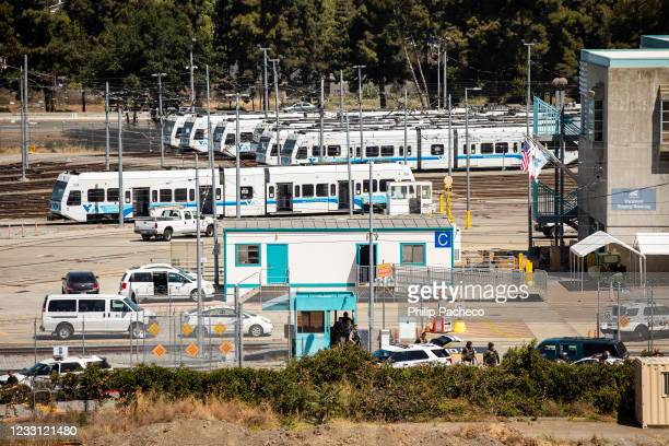 View of the Valley Transportation Authority light-rail yard where a mass shooting occurred on May 26, 2021 in San Jose, California. A VTA employee...