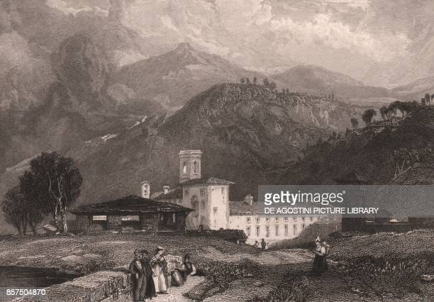 View of the Vallombrosa Abbey Reggello Tuscany Italy steel engraving after a drawing by James Duffield Harding ca 145x115 cm published by Jennings...