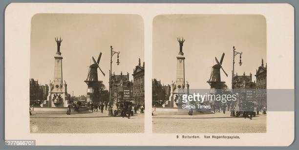 View of the Van Hogendorpplein in Rotterdam Rotterdam. Van Hogendorpsplein , windmill in landscape, village square, place, monument, statue,...