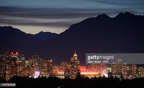 View of the Vancouver skyline with BC Place Stadium prominent during the FIFA Women's World Cup 2015 on June 10, 2015 in Vancouver, Canada.