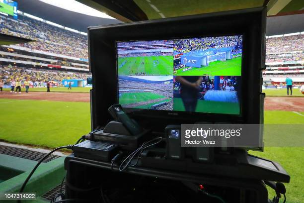 View of the VAR equipment which is being tested to be used in Liga MX during the 11th round match between America and Chivas as part of the Torneo...