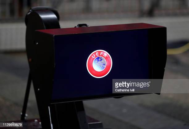 View of the VAR monitor ahead of the UEFA Champions League Round of 16 First Leg match between Tottenham Hotspur and Borussia Dortmund at Wembley...