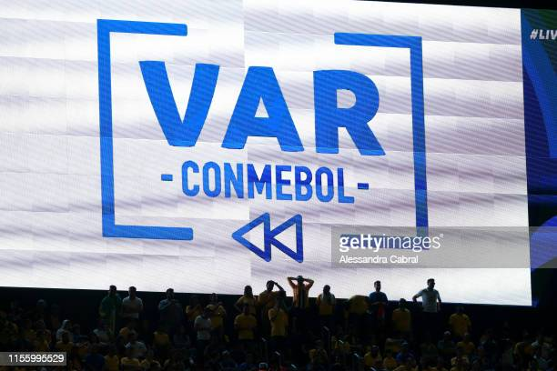 View of the VAR on the big screen during the Copa America Brazil 2019 group A match between Brazil and Bolivia at Morumbi Stadium on June 14 2019 in...