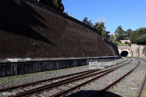 A view of the Vatican train station inside the Vatican Gardens on February 19 2013 in Vatican City Vatican When Pope Benedict XVI steps down on...