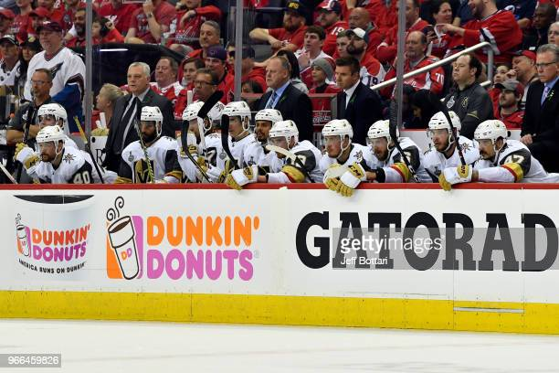 A view of the Vegas Golden Knights bench during the second period against the Washington Capitals in Game Three of the Stanley Cup Final during the...
