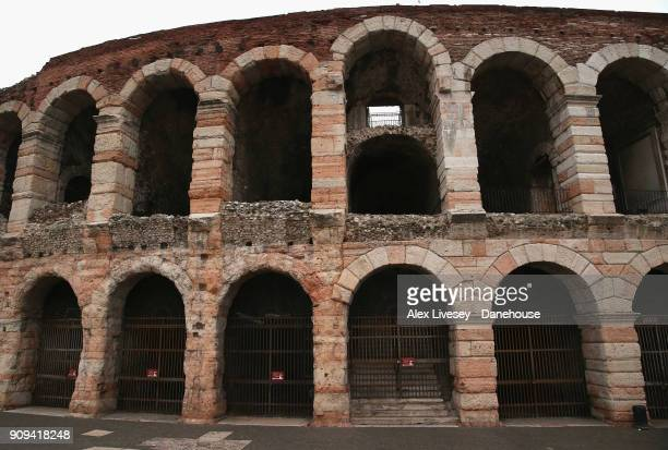A view of the Verona Arena is seen on Piazza Bra on January 5 2018 in Verona Italy