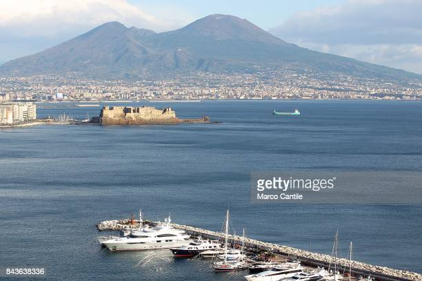 A view of the Vesuvius volcano from the gulf of Naples