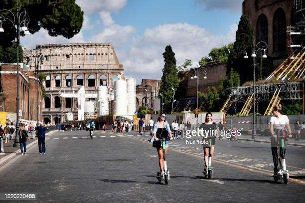 View of the Via Dei Fori in Roma after the lockdown of the nation due to the Covid-19 outbreak, Roma, 14th June, Italy. All the museums re-open to...