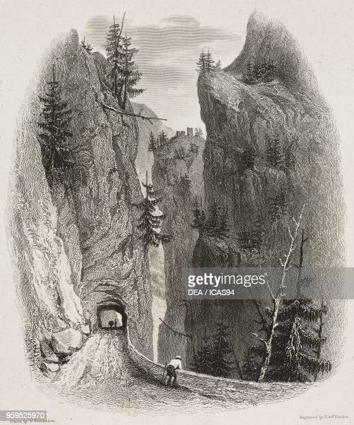 View of the Viamala Gorge near Thusis Hinterrhein Valley Switzerland engraving by Edward Finden after a drawing by William Brockedon from...