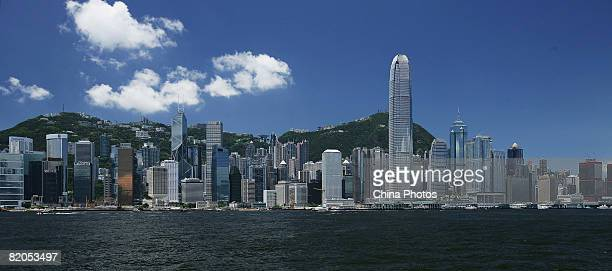 A view of the Victoria Harbour is seen on July 24 2008 in Hong Kong China Hong Kong will host the Beijing 2008 Olympic Equestrian events