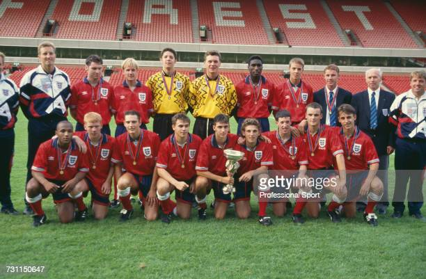 View of the victorious England under18 team squad pictured posed together with the trophy after the England under18 team won the 1993 UEFA European...