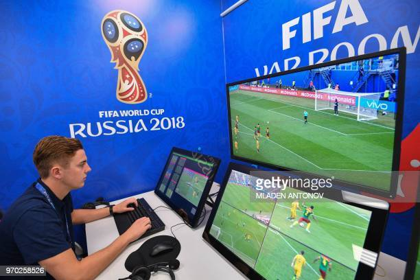 A view of the video assistant refereeing operation room at the 2018 FIFA World Cup Russia International Broadcast Centre in Moscow on June 9 2018