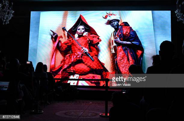 A view of the video presentation during 2018 Pirelli Calendar launch press conference at The Pierre Hotel on November 10 2017 in New York City