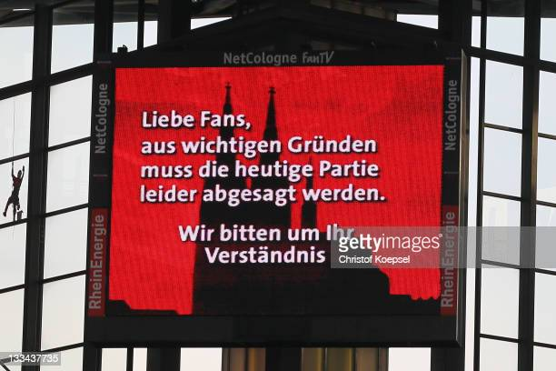 View of the video screen at RheinEnergieStadion on November 19 2011 in Cologne Germany The Bundesliga match beween 1 FC Koeln and Mainz 05 that...