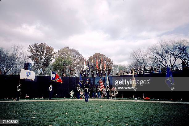 View of the Vietnam Veterans Memorial during its dedication ceremony Washington DC November 13 1982