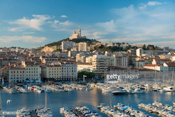 View of the Vieux Port (Old Port) in Marseille at first light, France