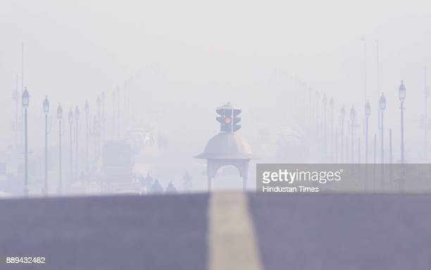A view of the Vijay Chowk on a smog filled morning atmosphere on December 10 2017 in New Delhi India