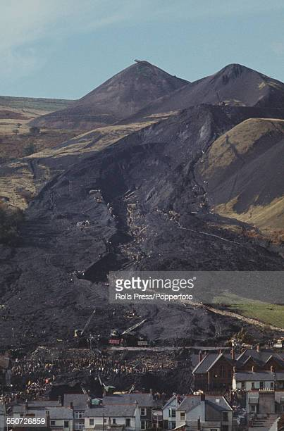 View of the village of Aberfan in Wales and the remains of the colliery spoil tip that collapsed on the morning of 21st October 1966 killing 144...