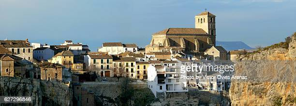 view of the village of alhama perched along the edge of a deep limestone gorge in granada, andalusia, spain - victor ovies fotografías e imágenes de stock