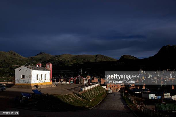 View of the village of Copacabana. One of Bolivia's most famous festivals, the festival of the Virgen de la Candelari, takes place in the usually...