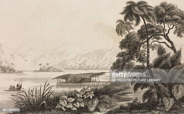 View of the village of Kouaoui Papua New Guinea engraving by Domeny de Rienzi and Chollet from Oceanie ou Cinquieme partie du Monde Revue...