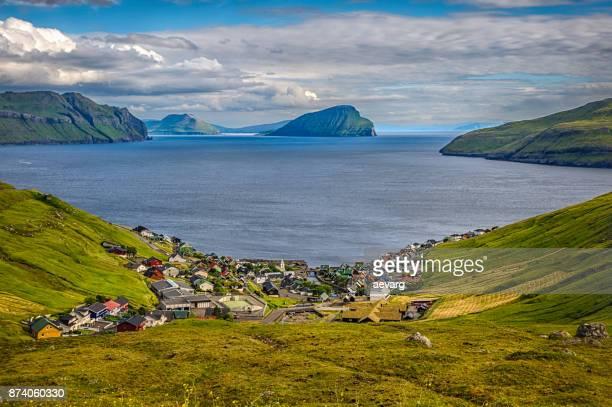 view of the village of kvívík, streymoy, faroe islands, denmark - torshavn stock pictures, royalty-free photos & images