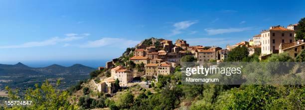 view of the village - corcega fotografías e imágenes de stock