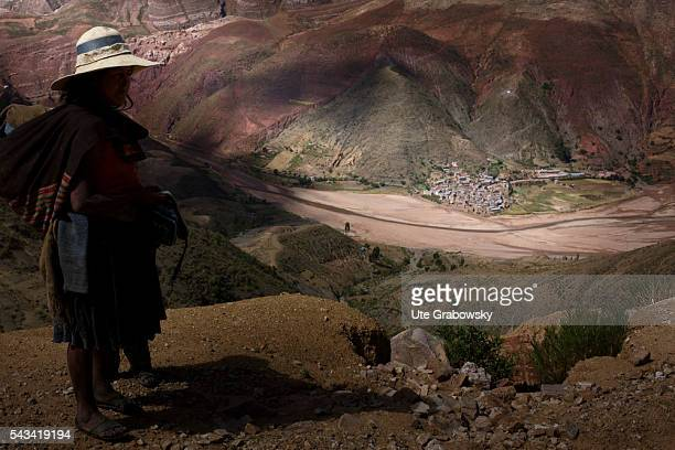 View of the village Tarwachapi in a valley in the Andes a village with 600 indigenous inhabitants on April 15 2016 in Tawarchapi Bolivia