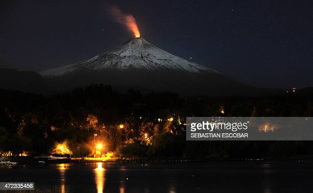 View of the Villarrica volcano one of Chile's most active taken from Pucon some 800 km south of Santiago showing visible signs of activity on May 6...