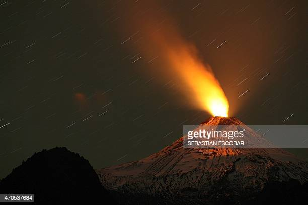 View of the Villarrica volcano taken from Pucon some 800 km south of Santiago showing visible signs of activity on April 21 2015 AFP PHOTO/SEBASTIAN...