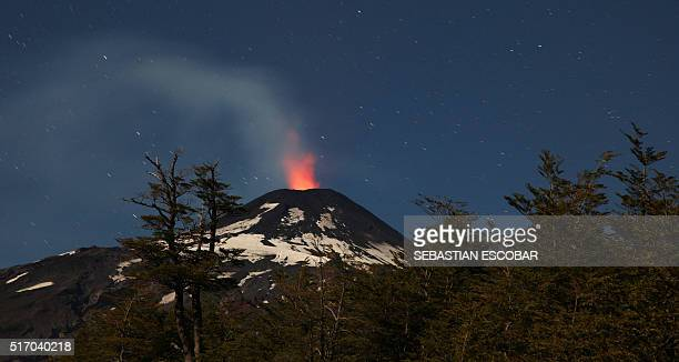 View of the Villarrica volcano taken from Pucon some 800 km south of Santiago showing signs of activity on March 22 2016 AFP PHOTO / SEBASTIAN...