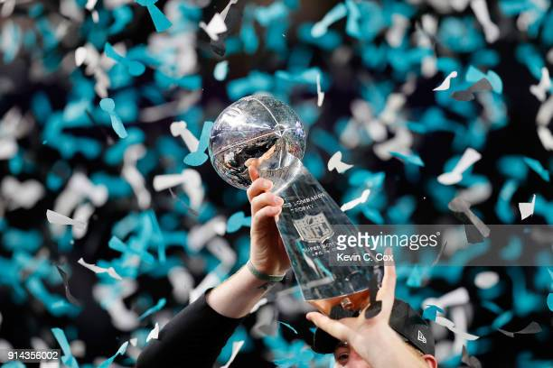 A view of the Vince Lombardi trophy after the Philadelphia Eagles 4133 victory over the New England Patriots in Super Bowl LII at US Bank Stadium on...