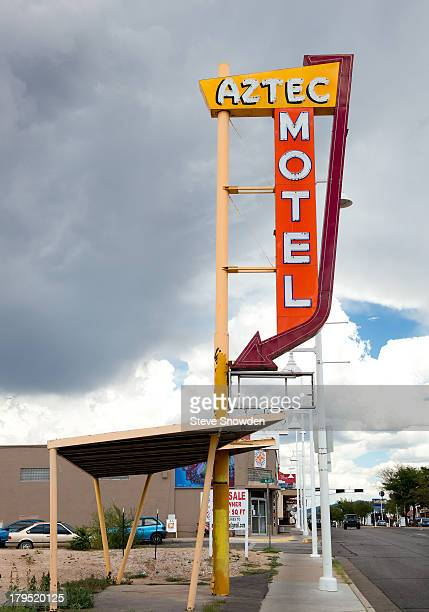 A view of the vintage Aztec Motel sign on historic Route 66 on September 01 2013 in Albuquerque NM This is all that remains of the structure that was...