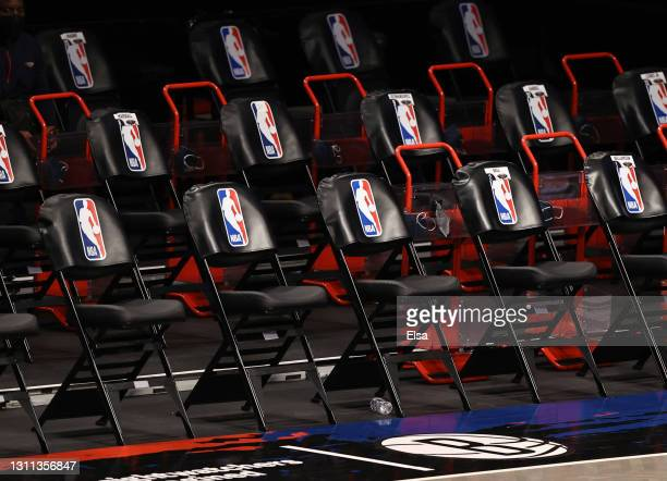 View of the visitor's bench before the game between the Brooklyn Nets and the New Orleans Pelicans at Barclays Center on April 07, 2021 in New York...