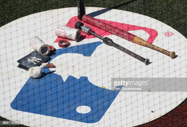A view of the visitors' ondeck circle with a variety of weighted bats and donuts and pine tar and batting sleeves during the New York Yankees MLB...
